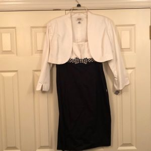 White and black cropped jacket dress with jacket